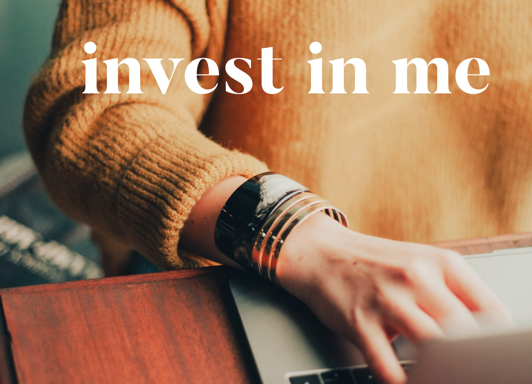 Picture of a women at a computer with the caption 'invest in me'.  Do you worry about asking for investment in your development? Download the QtH handy guide to asking your boss or organisation for investment...